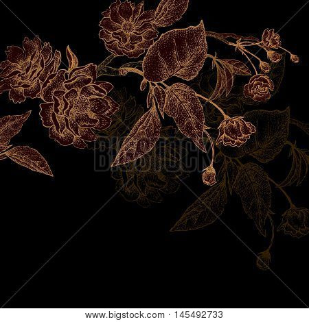 Chinese plum tree branch. Symbolic flower. The card vintage style. Gold embossing on a black background.