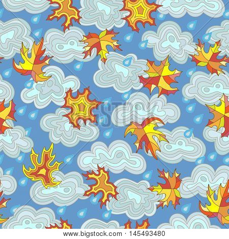 Seamless pattern on the theme of autumn maple leaves raindrops and clouds in the sky