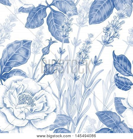 Vector seamless background. Design for fabrics textiles paper wallpaper web. Roses lavender. Retro. Vintage style. Floral ornament. Shabby-chic.