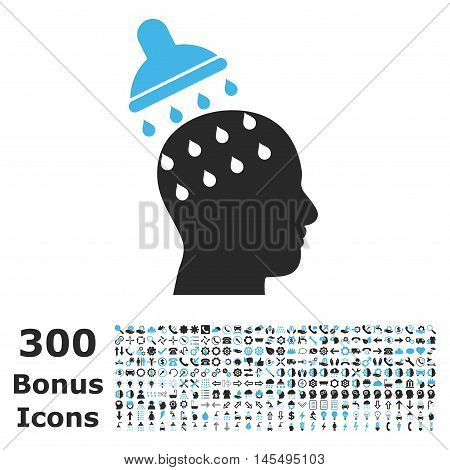 Brain Washing icon with 300 bonus icons. Glyph illustration style is flat iconic bicolor symbols, blue and gray colors, white background.