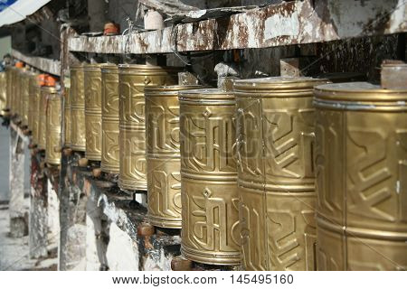 Golden prayer wheels, China, Tibet, Lhasa, Potala