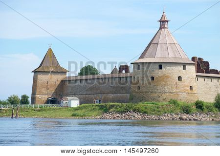 Two ancient towers (Golovin and Sovereign) close-up on a summer day. Oreshek fortress, Russia