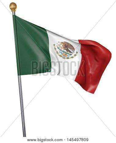 National flag for country of Mexico isolated on white background, 3D rendering