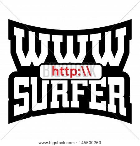 WWW internet surfer t shirt typography graphics. Mockup with windows addres. Fashion stylish print sports wear. Template for apparel card poster. Symbol of web browser site Vector illustration