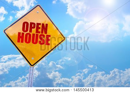 open house word on yellow traffic sign blue sky background