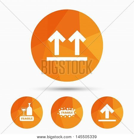 Fragile icons. Delicate package delivery signs. This side up arrows symbol. Triangular low poly buttons with shadow. Vector