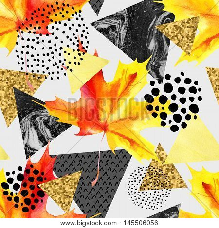 Abstract autumn geometric seamless pattern. Triangles with watercolor marble glitter grunge textures. Abstract geometric background in retro vintage 80s 90s pop art. Hand drawn natural illustration