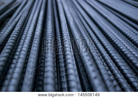 Steel Rod. Steel Bar. Iron Wire. Closeup of Steel Rod.
