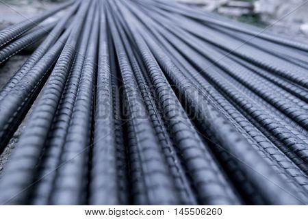 Closeup of Steel Rod. Steel Rod. Steel Bar. Iron Wire.