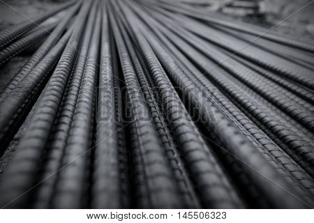 Iron Wire. Closeup of Steel Rod. Steel Bar. Material for building.