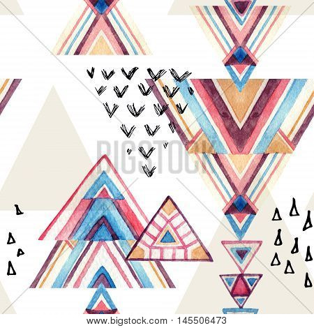 Abstract watercolor geometric seamless pattern. Triangles with aztec ornament watercolor and grunge textures. Geometrical background in tribal style. Hand painted ethnic illustration