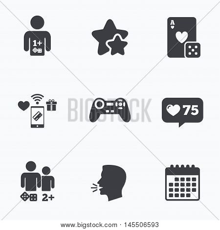 Gamer icons. Board games players signs. Video game joystick symbol. Casino playing card. Flat talking head, calendar icons. Stars, like counter icons. Vector