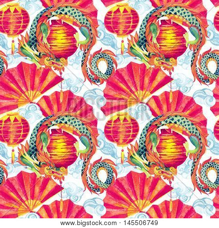 Chinese Dragon watercolor seamless pattern. Traditional asian festival background. Watercolour hand painted illustration