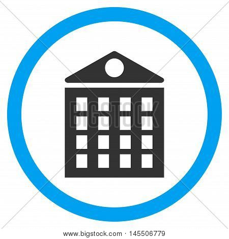 Multi-Storey House vector bicolor rounded icon. Image style is a flat icon symbol inside a circle, blue and gray colors, white background.