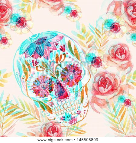 Mexican sugar skull among the flowers seamless pattern. Day of the dead holiday background with watercolor paper texture. Hand painted illustration with double color exposure glitch effect