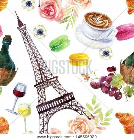 French watercolor seamless pattern with morning cup of coffee macaroons croissant wine grapes eiffel tower and flowers on white background. Hand painted watercolor illustration