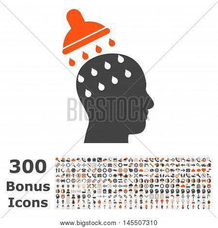 Brain Washing icon with 300 bonus icons. Glyph illustration style is flat iconic bicolor symbols, orange and gray colors, white background.