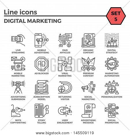 Digital marketing relations thin line related icons set on white background. Simple mono linear pictogram pack Stroke vector logo concept for web graphics.