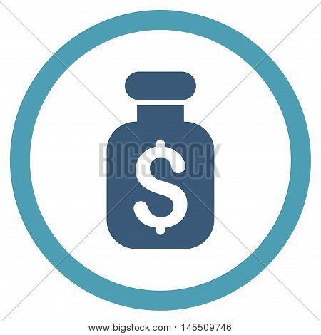 Business Remedy vector bicolor rounded icon. Image style is a flat icon symbol inside a circle, cyan and blue colors, white background.