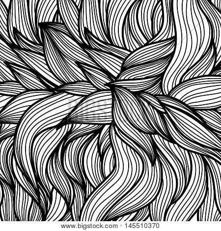 Hand drawn leaves pattern. Scetch of background with abstract shapes illustration. EPS 10