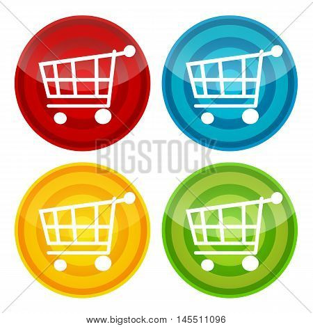 Shopping cart colorful stickers, labels, icons set