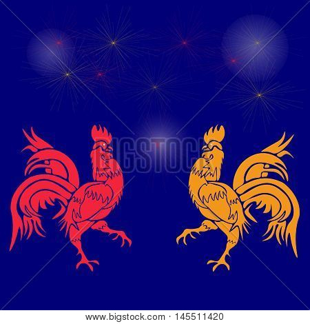 Two cocky rooster, red and yellow on a background of fireworks. Chinese Horoscope - Rooster. Chinese New Year. Vector illustration