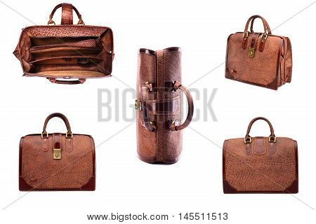 SET   leather brown briefcase .Isolated on the white background.Men's business fashion accessories.