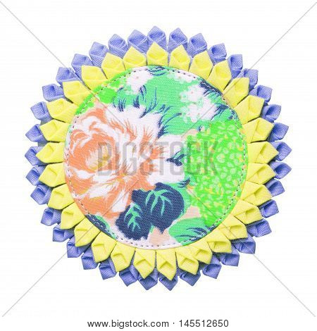 Coaster made from fabric isolated on white background