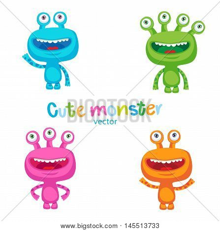 Cute Colorful Monsters Vector Set. Luck Cartoon Mascot Illustration. Vector Funny Fantastic Space Alien On A White Background. Small Alien Creature.