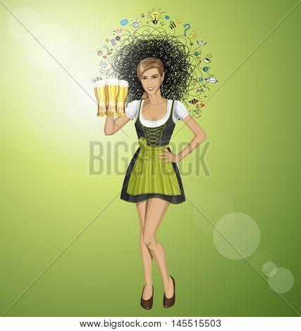 Vector cute woman in drindl on oktoberfest