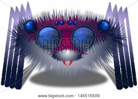 Image of the big hairy spider - illustration