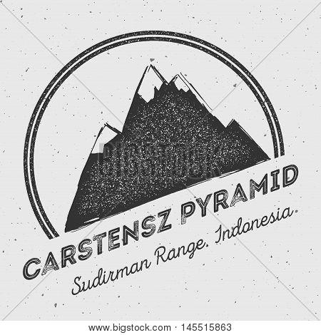 Carstensz Pyramid In Sudirman Range, Indonesia Outdoor Adventure Logo. Round Mountain Vector Insigni