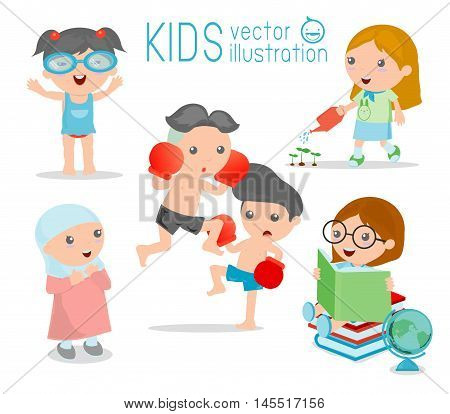 happy cartoon kids, Kids playing on white background , kid playing and lifestyle, vector illustration