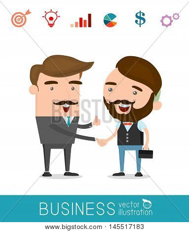 business partners handshaking - Business people shaking hands, modern flat icon,Vector Illustration