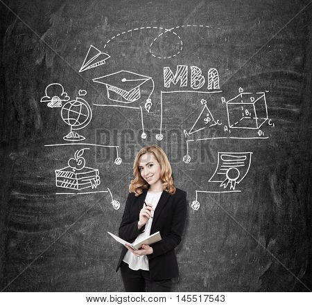 College teacher standing near blackboard with MBA sketch on it. Concept of business education importance for career