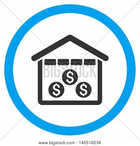 Money Depository vector bicolor rounded icon. Image style is a flat icon symbol inside a circle, blue and gray colors, white background.