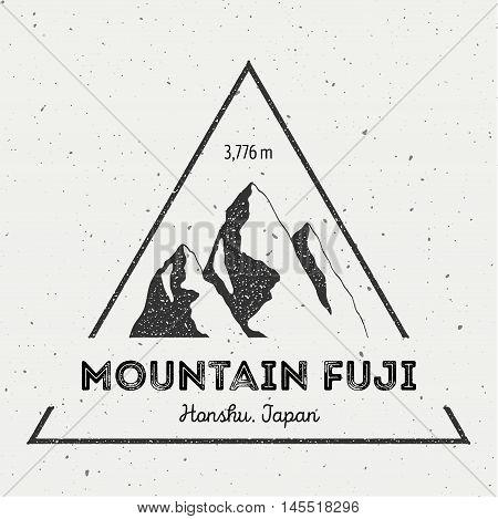 Fuji In Honshu, Japan Outdoor Adventure Logo. Triangular Mountain Vector Insignia. Climbing, Trekkin