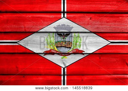 Flag Of Sao Jose Do Rio Preto, Brazil, Painted On Old Wood Plank Background
