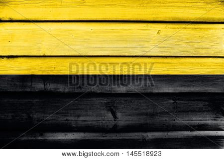 Flag Of Saxony-anhalt, Germany, Painted On Old Wood Plank Background