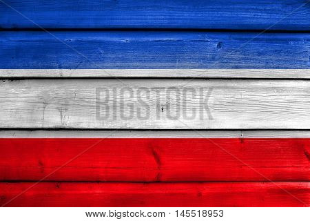 Flag Of Schleswig-holstein, Germany, Painted On Old Wood Plank Background