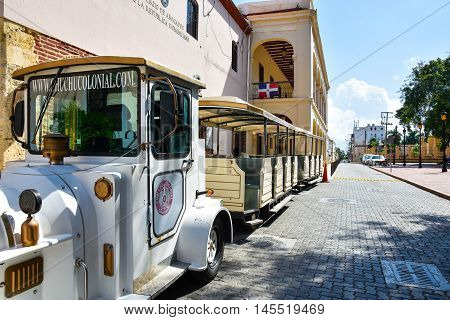 SANTO DOMINGO, DOMINICAN REPUBLIC - January 24, 2016: Chu Chu Colonial is a train that present in 45 min. the Colonial Zone of Santo Domingo.