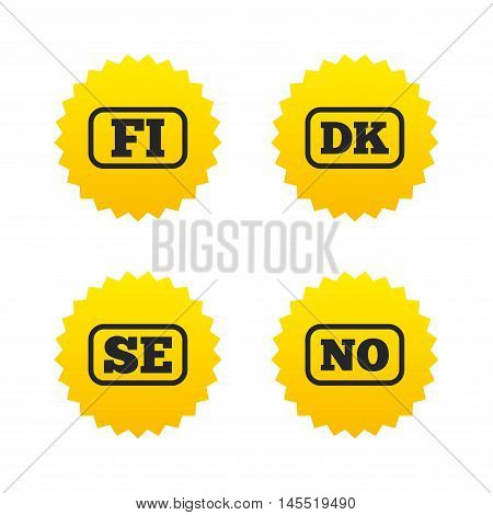 Language icons. FI, DK, SE and NO translation symbols. Finland, Denmark, Sweden and Norwegian languages. Yellow stars labels with flat icons. Vector