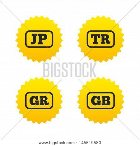 Language icons. JP, TR, GR and GB translation symbols. Japan, Turkey, Greece and England languages. Yellow stars labels with flat icons. Vector