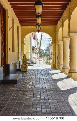 Santo DOmingo, Dominican Republic - January 24, 2016: Entrance of Borgellà Palace, old house of Diego De Herrera.