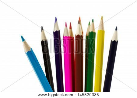 Colored pencils for drawing isolated on white background. School and education concept.