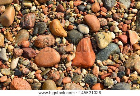 Wet stones from the beach. Macro image.