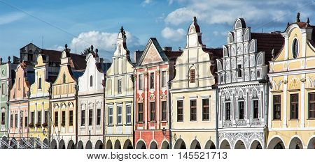 Main square in Telc with the famous 16th-century houses Czech republic. Architectural scene. Unesco World Heritage Site. Building facades. Travel destination. Beautiful place.