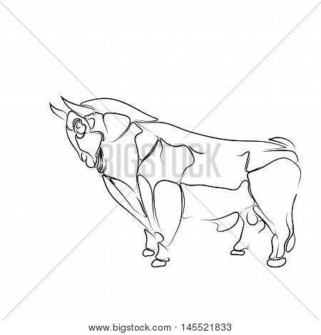 Stylized, isolated black contour of the bull on a white background, tattoo, vector illustration: