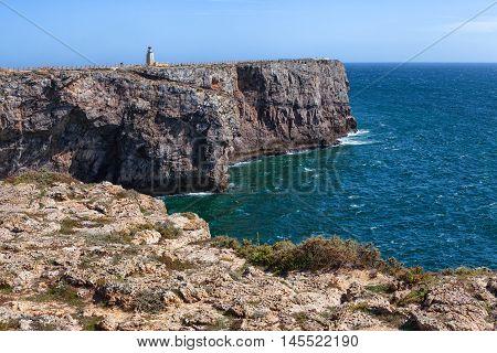 Coastline near fortress Fortaleza de Sagres Portugal Algarve