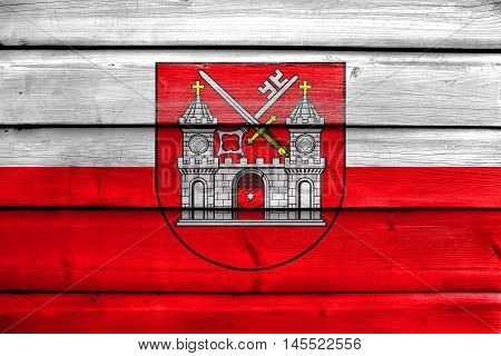 Flag Of Tartu, Estonia, Painted On Old Wood Plank Background